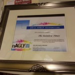 Plaque from nAGLY presented to The Rainbow Times at their 20th Anniversary and Gala.  Photo: Glenn Koetzner/TRT