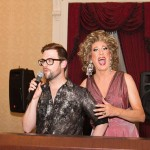 "Kitty Litter with Jonathan Peters from Project Runway, auctioning off his ""one of a kind"" gown.  Photo: JDHS Photos"