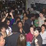 Partygoers pack MakeShift Gallery on Saturday, March 23rd to celebrate the launch of HUES, a program of HBGC that works to create a space where LGBTQ Black and Latin@ women of color can be safe, visible and celebrated.  Photo: HBGC