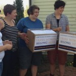 Students with Smith Q&A delivered more than 4,000 signatures to Smith College's Director of Admissions, Deb Shaver.  Photo: Smith Q&A