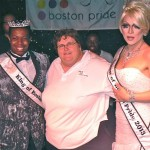 At Boston Pride's Royal Pageant, Linda DeMarco (center) poses with the Queen and King of Boston Pride.  Photo: TRT/Lorelei Erisis