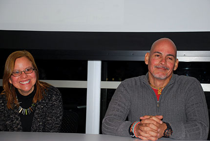 "Siblings Luz Marilis López and Oscar López speaking at a ""Before God, We are all Family"" film screening and panel discussion, held at Fenway Health.  Photo: Chuck Colbert"