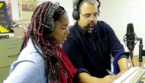 "Nyla Rose (homeless youth) with David Coleman (musical arrangement) preparing to record ""Invisible Butterfly,"" a song written by Neil MacInnes-Barker for the documentary ""No Place Like Home.""  Photo: Neil MacInnes-Barker, WIT•101 Productions"