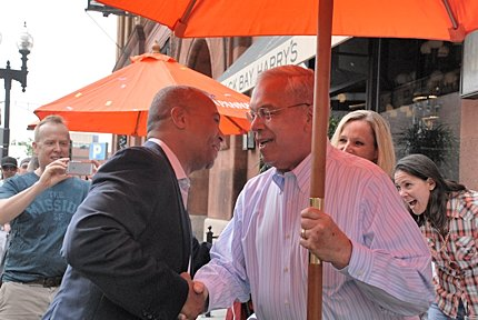At the 2014 Boston Pride Parade, Governor Deval Patrick greets former Boston Mayor Thomas M. Menino, a moment shared with TRT. MORE PHOTOS of the Parade and Festival Coming soon. Credit: Christa April Lamb of North Andover, MA