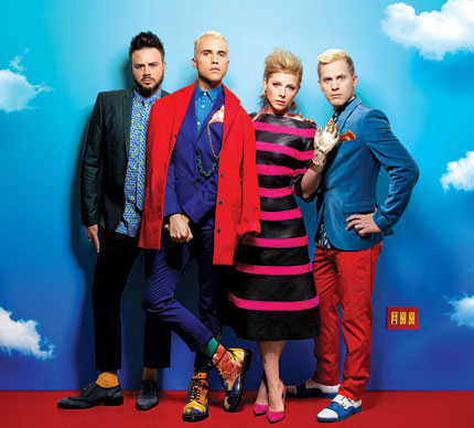 Tyler Glenn, second from left to right, is Neon Trees' frontman and a gay Mormon.  Photo: Andrew Zaeh
