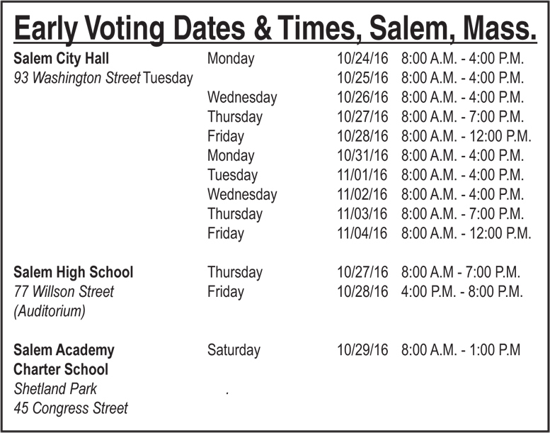 Salem Early Voting Dates Vote In Person Or Via Mail The