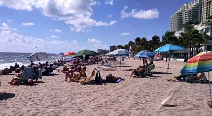 Fun in the sun – the gay section of Fort Lauderdale Beach is within walking distance of both upscale high-rise hotels and clothing-optional gay resorts. Photo: Andrew Collins